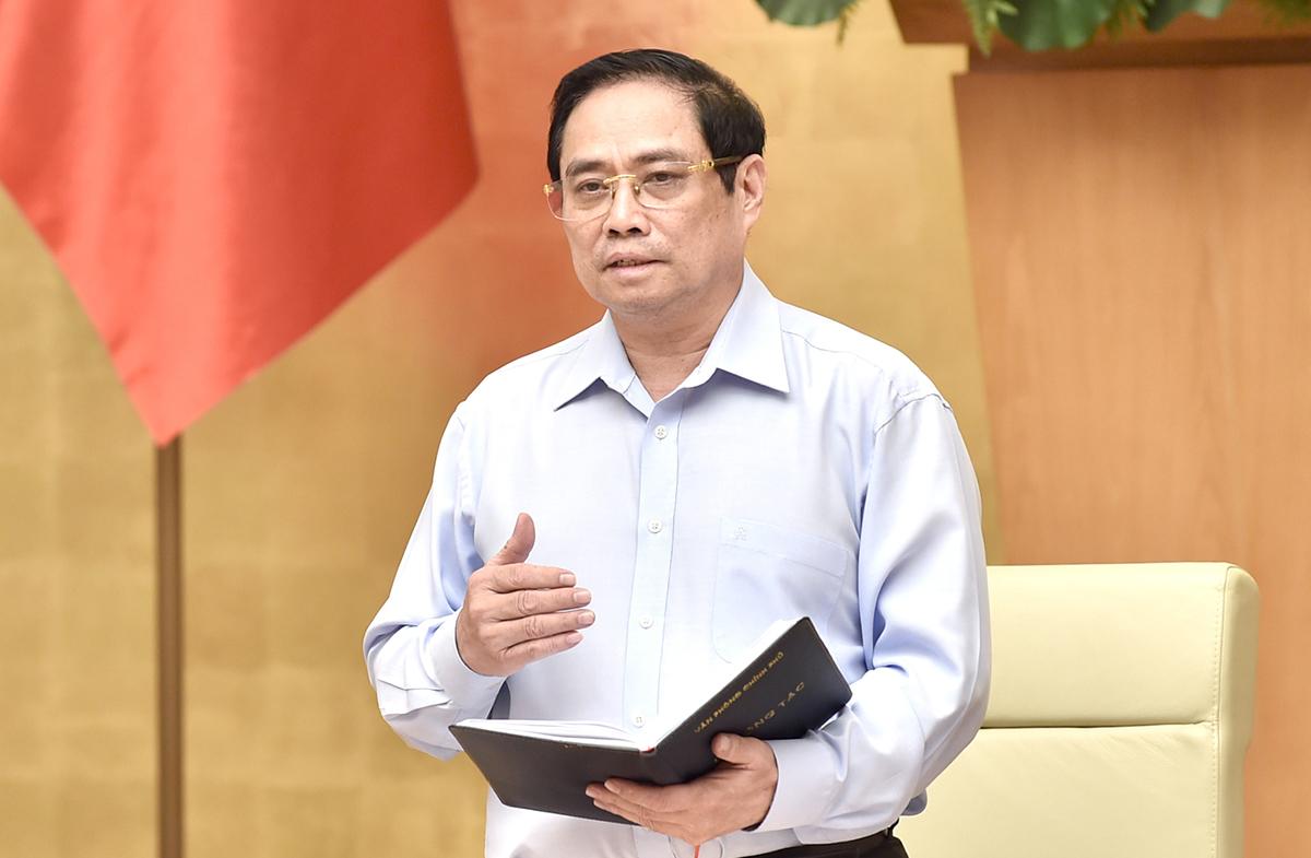 Thủ tướng Phạm Minh Chính chủ trì họp với các tỉnh phía nam về chống Covid-19, sáng 15/7. Ảnh: Nhật Bắc