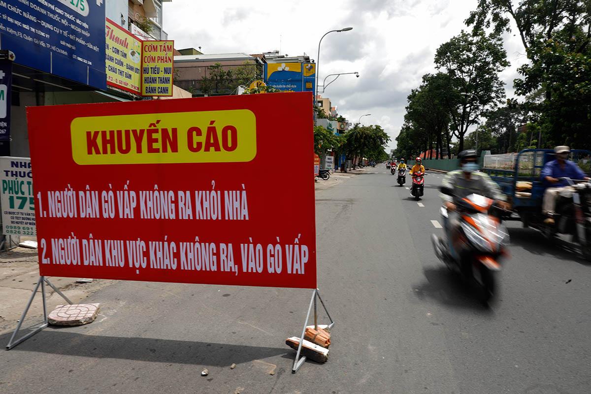 Quận Gò Vấp, TP HCM trong thời gian giãn cách xã hội, tháng 6/2021. Ảnh: Hữu Khoa