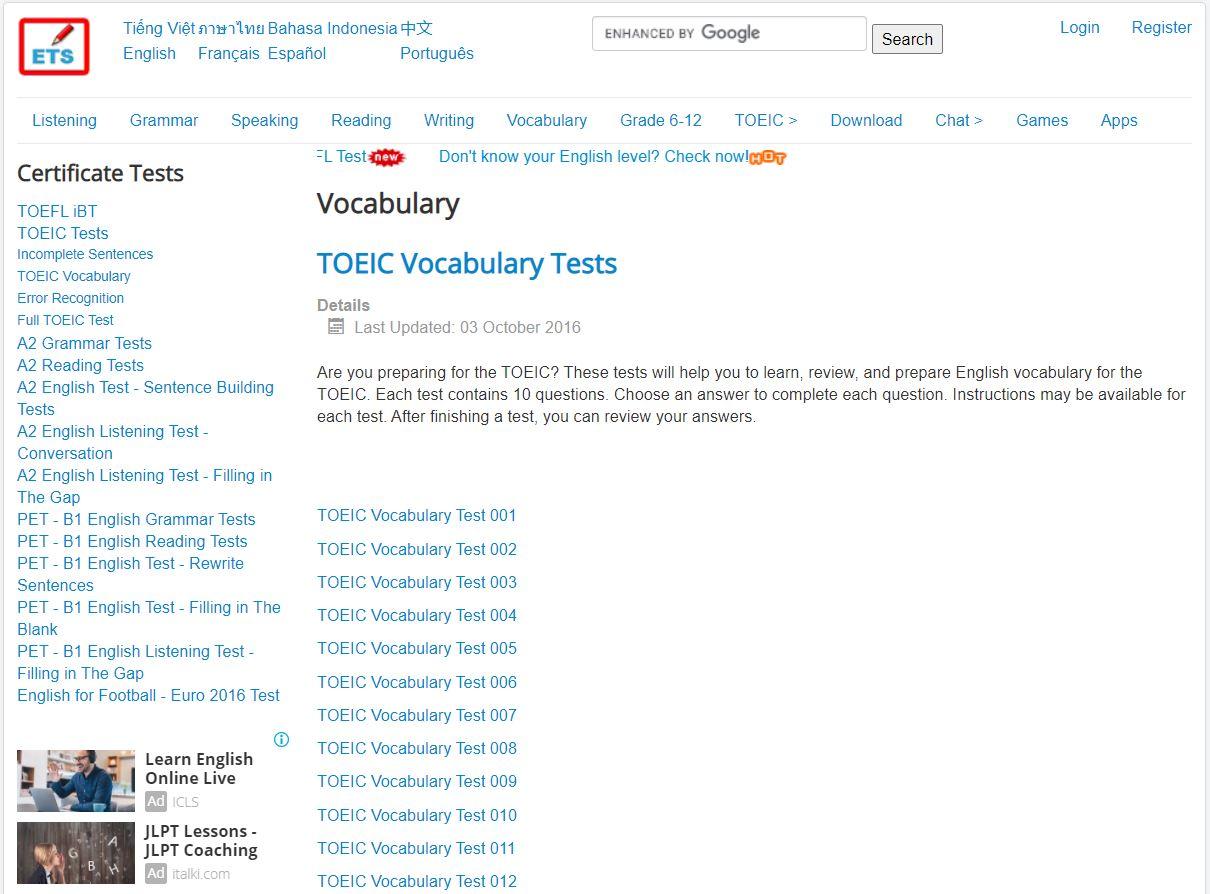 English Test Store cung cấp kho đề thi phong phú