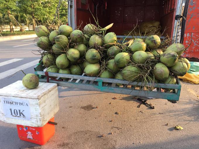 Xe bán dừa của vợ chồng chị Bình trên một đoạn đường ở Hà Nội. Ảnh: NVCC.