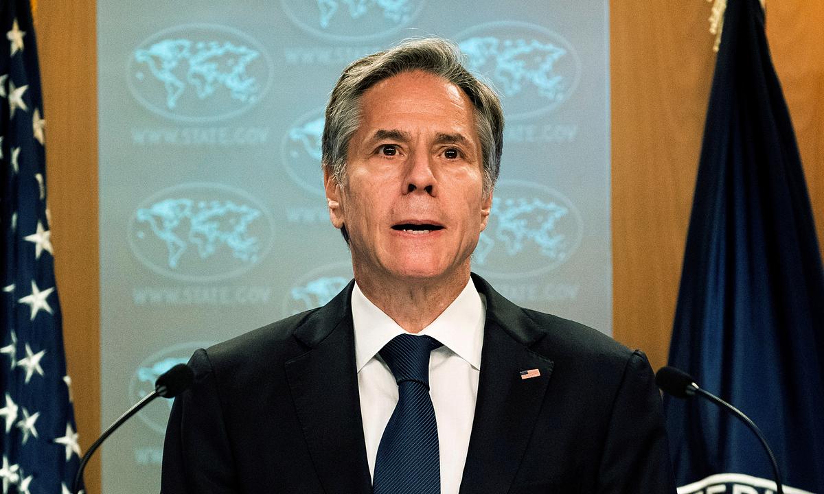 Ngoại trưởng Mỹ Antony Blinken trong buổi họp báo ngày 12/7. Ảnh: Reuters.