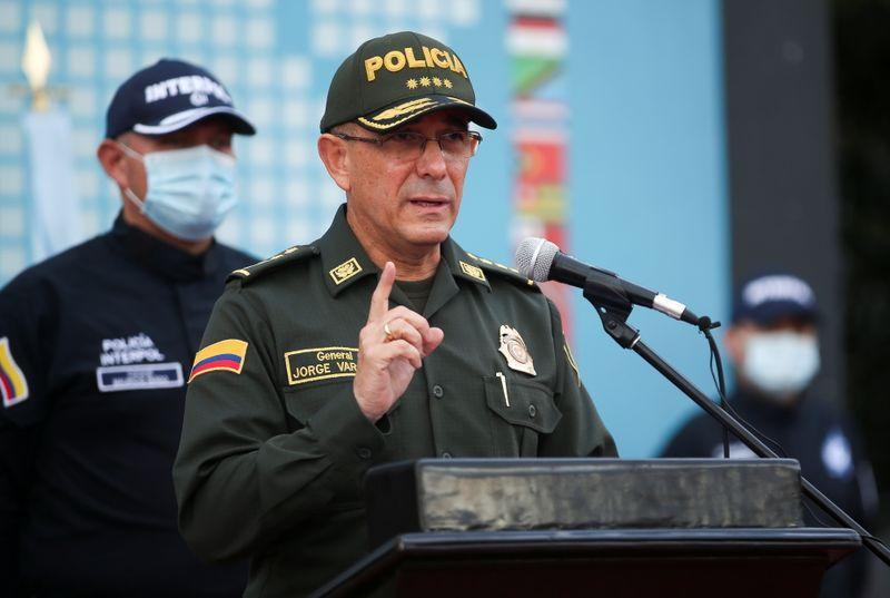 Jorge Vargas, lãnh đạo lực lượng Cảnh sát Quốc gia Colombia trong cuộc họp báo ở Bogota ngày 15/7. Ảnh: Reuters.
