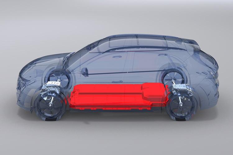 Hệ thống pin (màu đỏ) đặt trên một chiếc ôtô điện VinFast.