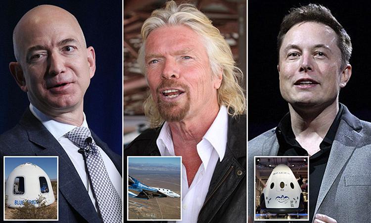 CEO Jeff Bezos (Blue Origin), Richard Branson (Virgin Galactic) và Elon Musk (SpaceX). Ảnh: Mail.