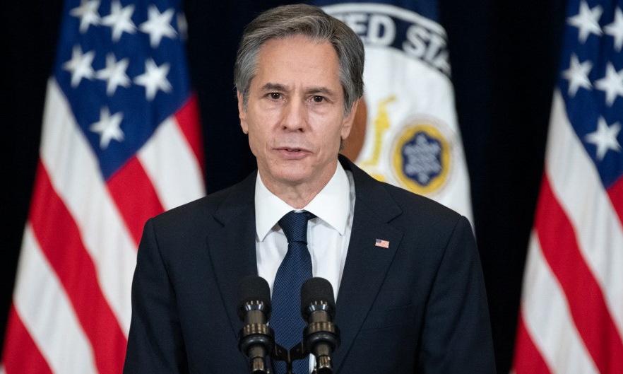 Ngoại trưởng Blinken họp báo tại thủ đô Washington hồi đầu năm. Ảnh: AFP.