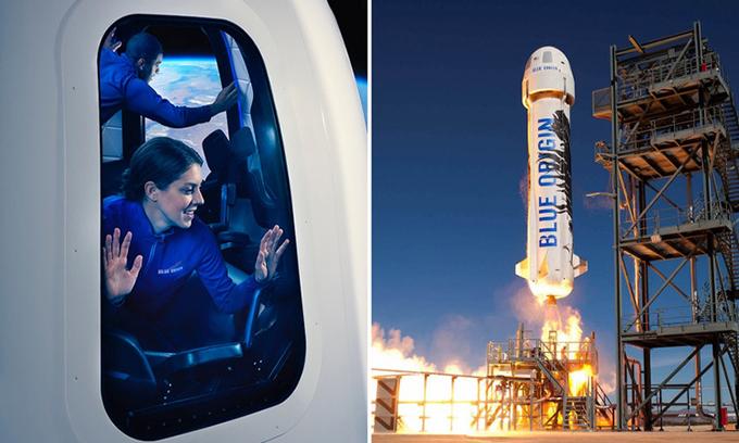 Hệ thống tên lửa phóng và tàu vũ trụ của Blue Origin. Ảnh:Blue Origin.
