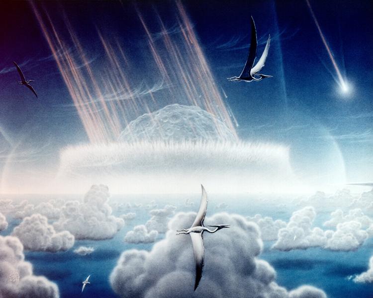 Mô phỏng thiên thạch đâm xuống biển tạo ra siêu sóng thần trên vịnh Mexico. Ảnh: Phys.