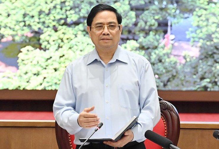 Thủ tướng Phạm Minh Chính phát biểu tại cuộc làm việc với lãnh đạo TP Hà Nội, sáng 19/7. Ảnh: Viết Thành.