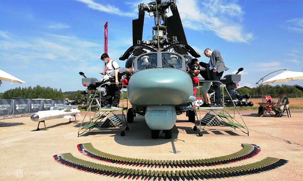 Trực thăng tấn công Ka-50 tại triển lãm MAKS-2021 ngày 20/7. Ảnh: Xuân Hoàn.