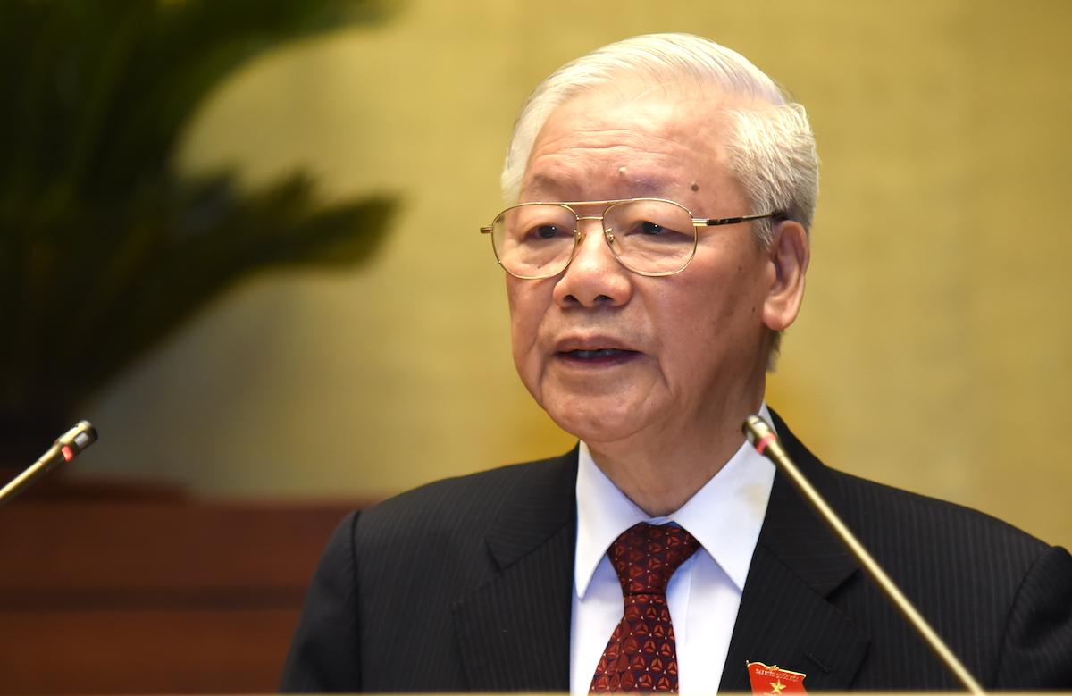 Tổng bí thư Nguyễn Phú Trọng phát biểu tại phiên khai mạc kỳ họp thứ nhất, Quốc hội khóa XV, sáng 20/7. Ảnh: Giang Huy