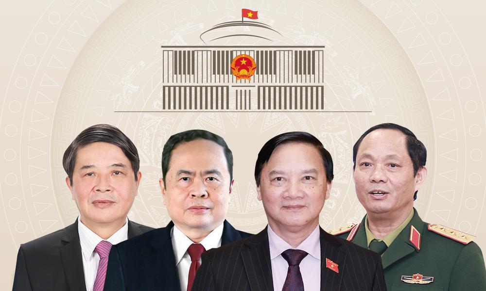 Từ trái qua: Các Phó chủ tịch Quốc hội Nguyễn Đức Hải, Trần Thanh Mẫn, Nguyễn Khắc Định, Trần Quang Phương.