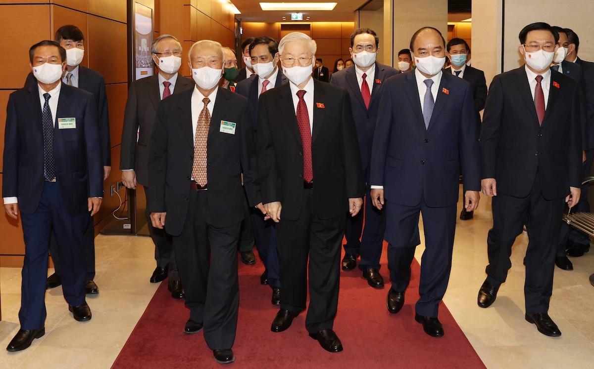 Tổng bí thư Nguyễn Phú Trọng cùng các vị lãnh đạo, nguyên lãnh đạo Đảng, Nhà nước dự lễ khai mạc kỳ họp thứ nhất, Quốc hội khóa XV. Ảnh: TTX