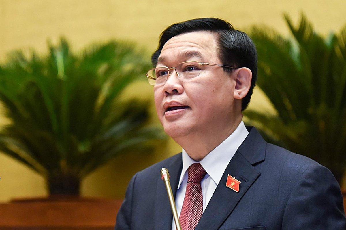 Chủ tịch Quốc hội Vương Đình Huệ phát biểu khai mạc kỳ họp thứ nhất, Quốc hội khóa XV. Ảnh: Giang Huy.