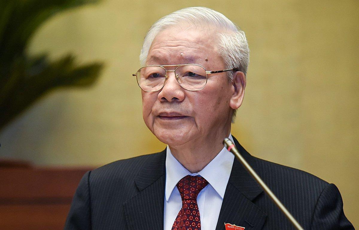 Tổng bí thư Nguyễn Phú Trọng phát biểu tại phiên khai mạc kỳ họp Quốc hội, sáng 20/7. Ảnh: Giang Huy.