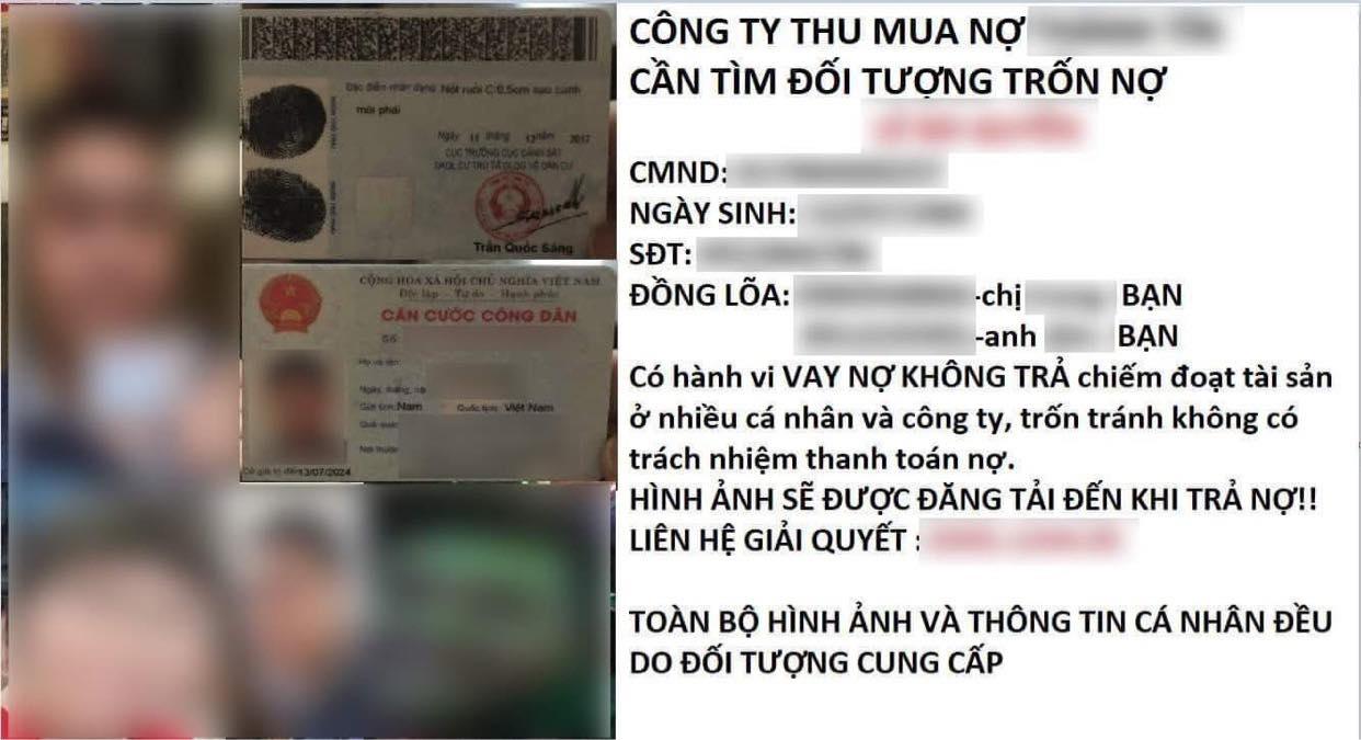 Thông tin công ty đăng về việc vay nợ của Quân đăng trên mạng xã hội trong đó có hình ảnh của chị Nhung. Ảnh: NVCC