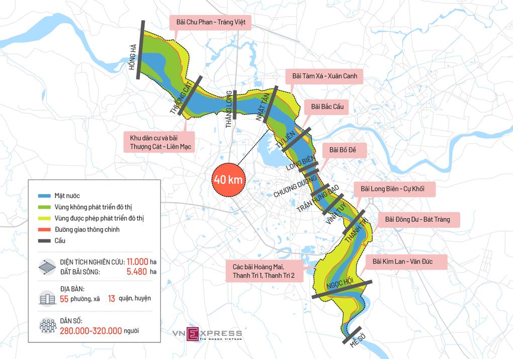 Bản đồ vị trí các bãi sông Hồng trong khu vực quy hoạch. Đồ họa:Tiến Thành