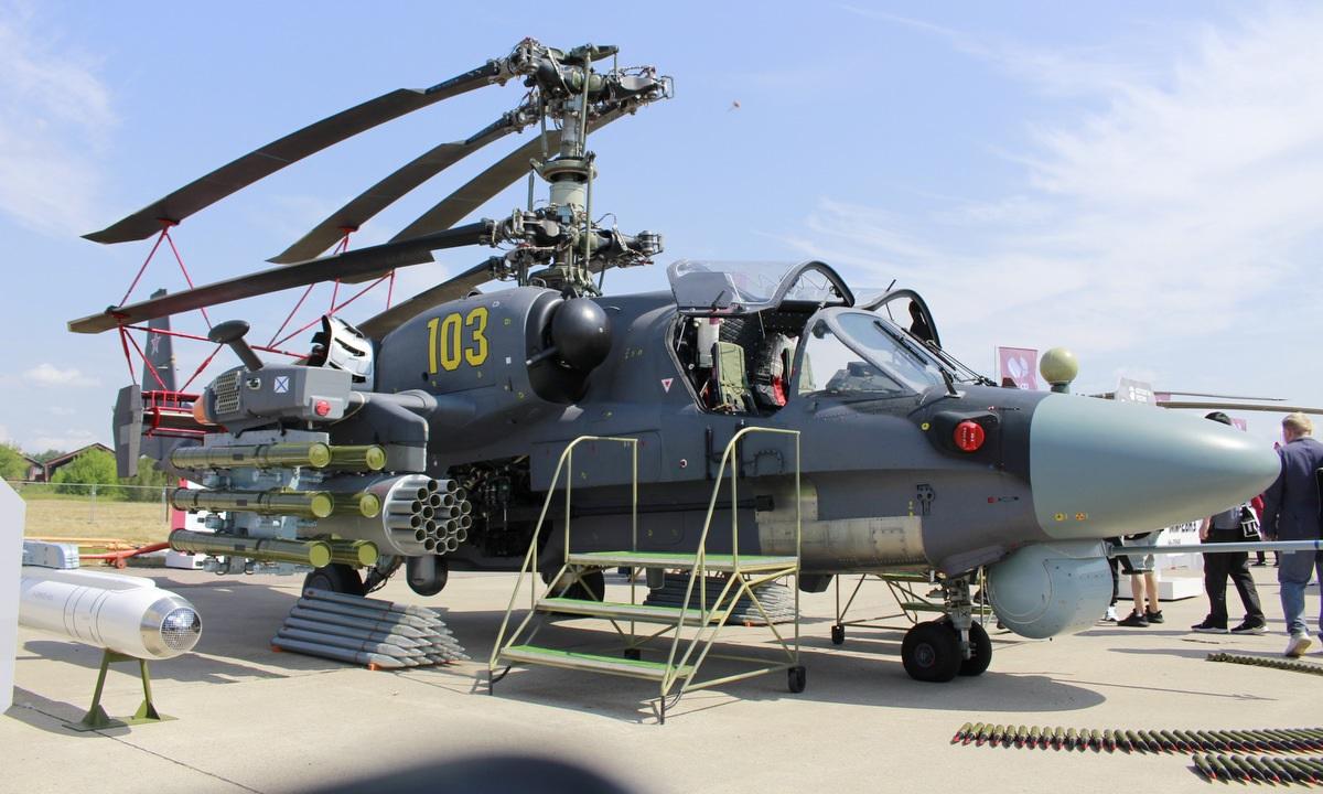 Trực thăng vũ trang Ka-52 trưng bày tại MAKS 2021. Ảnh: Xuân Hoàn.