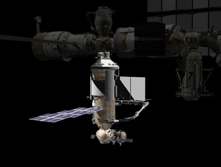 Mô phỏng module Nauka sau khi ghép nối với phân đoạn quỹ đạo Nga trên ISS. Ảnh: NASA.
