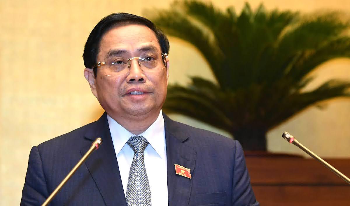 Thủ tướng Phạm Minh Chính trình cơ cấu Chính phủ nhiệm kỳ mới tại Quốc hội, sáng 22/7. Ảnh: Giang Huy