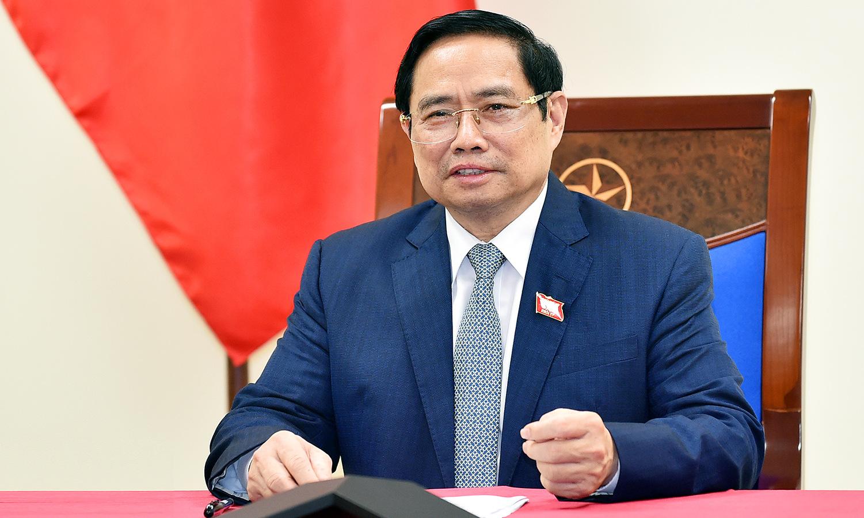 Thủ tướng Phạm Minh Chính trong cuộc điện đàm hôm 22/7. Ảnh: BNG.