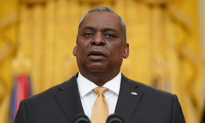 Bộ trưởng Austin phát biểu tại Washington hồi tháng 3. Ảnh: Lầu Năm Góc.