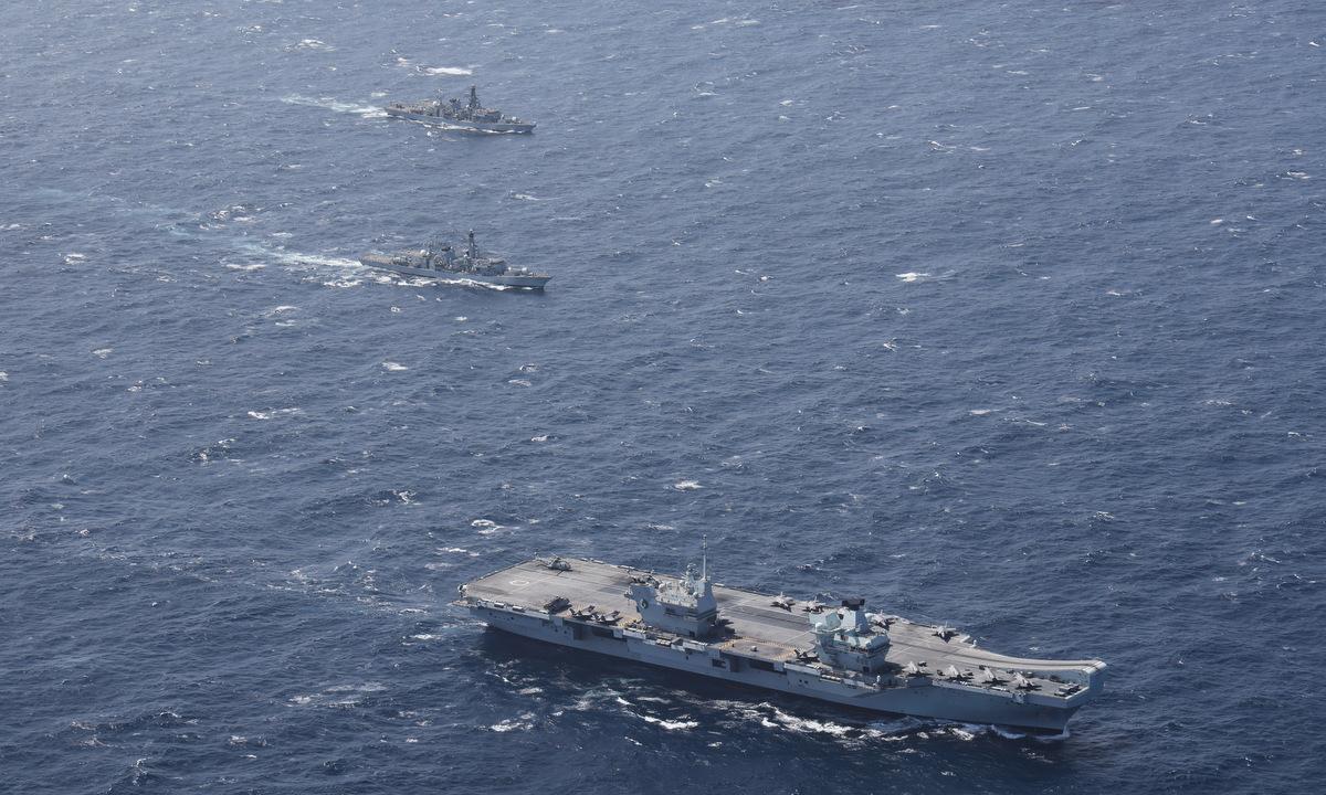 Tàu chiến Anh diễn tập trên Ấn Độ Dương hôm 21/7. Ảnh: US Navy.
