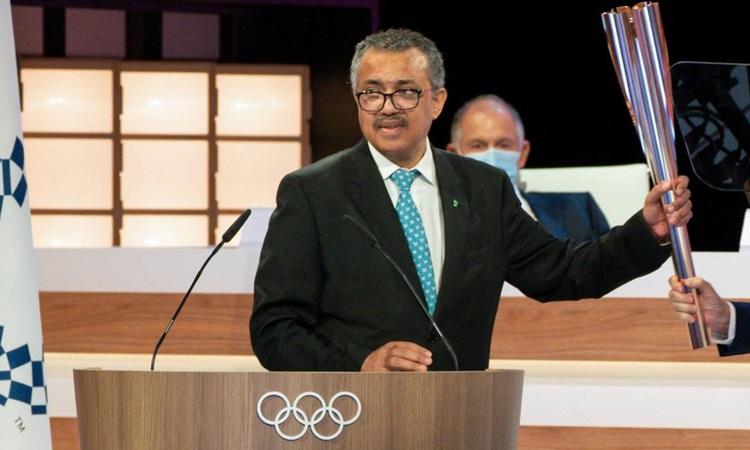 Tổng giám đốc WHO Tedros Adhanom Ghebreyesus phát biểu với Ủy ban Olympic Quốc tế tại Tokyo hôm 21/7. Ảnh: AFP.