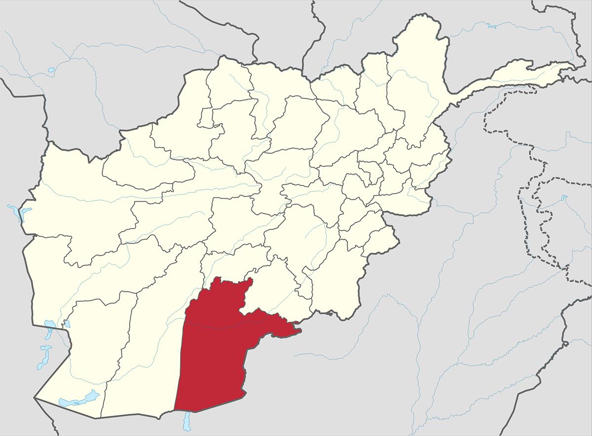 Vị trí tỉnh Kandahar của Afghanistan (màu đỏ). Đồ họa: Wikipedia.