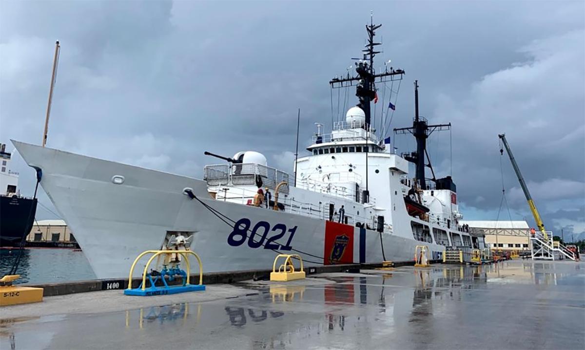 Tàu CSB 8021 tại cảng Apra trên đảo Guam của Mỹ hồi cuối tháng 6. Ảnh: USCGC.