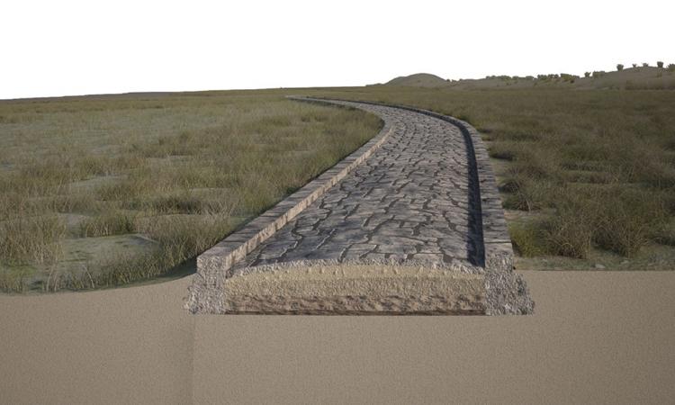 Tái dựng con đường lát đá thời La Mã nay đã chìm dưới biển. Ảnh: Antonio Calandriello/Giuseppe DAcunto/Scientific Reports.