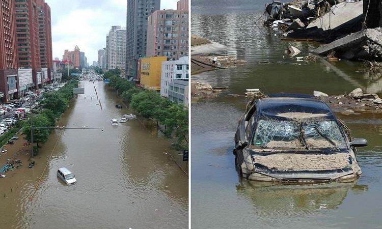 Đường phố ngập lụt ở Hà Nam, Trung Quốc và Đức. Ảnh: Reuters.