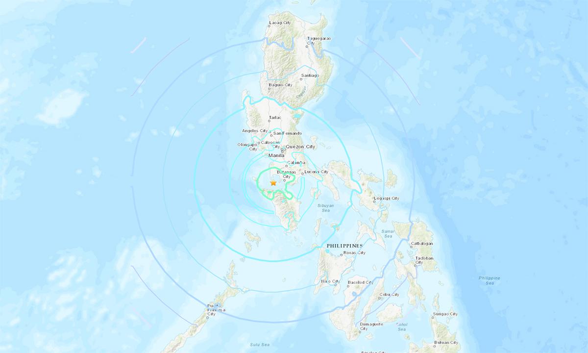 Tâm chấn trận động đất 6,7 độ tại Philippines ngày 24/7 (hình ngôi sao màu vàng). Đồ họa: USGS.