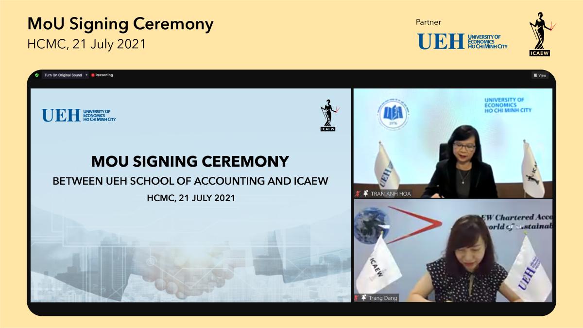 Lễ ký kết MOU giữa UEH và ICAEW theo hình thức trực tuyến.