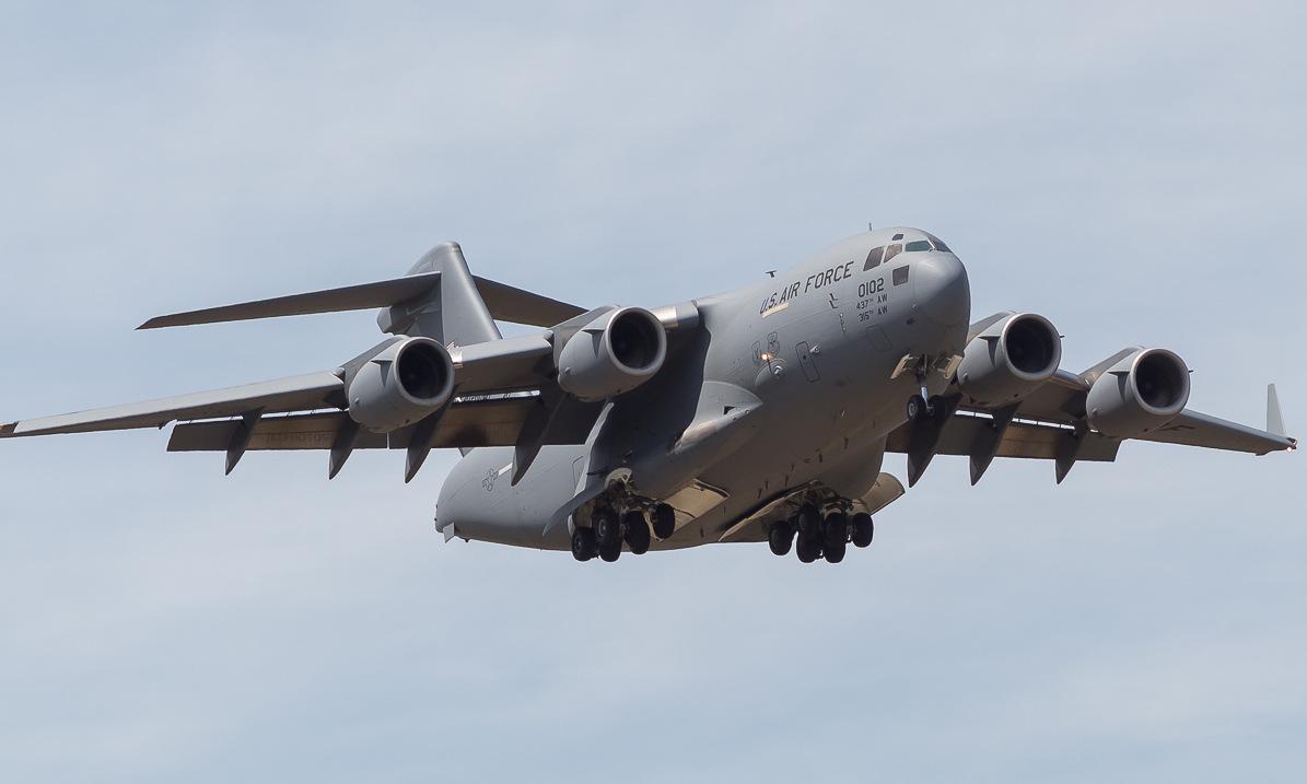 Vận tải cơ C-17 Mỹ số hiệu 95-0102 cất cánh làm nhiệm vụ hồi năm 2020. Ảnh: Jetphotos.