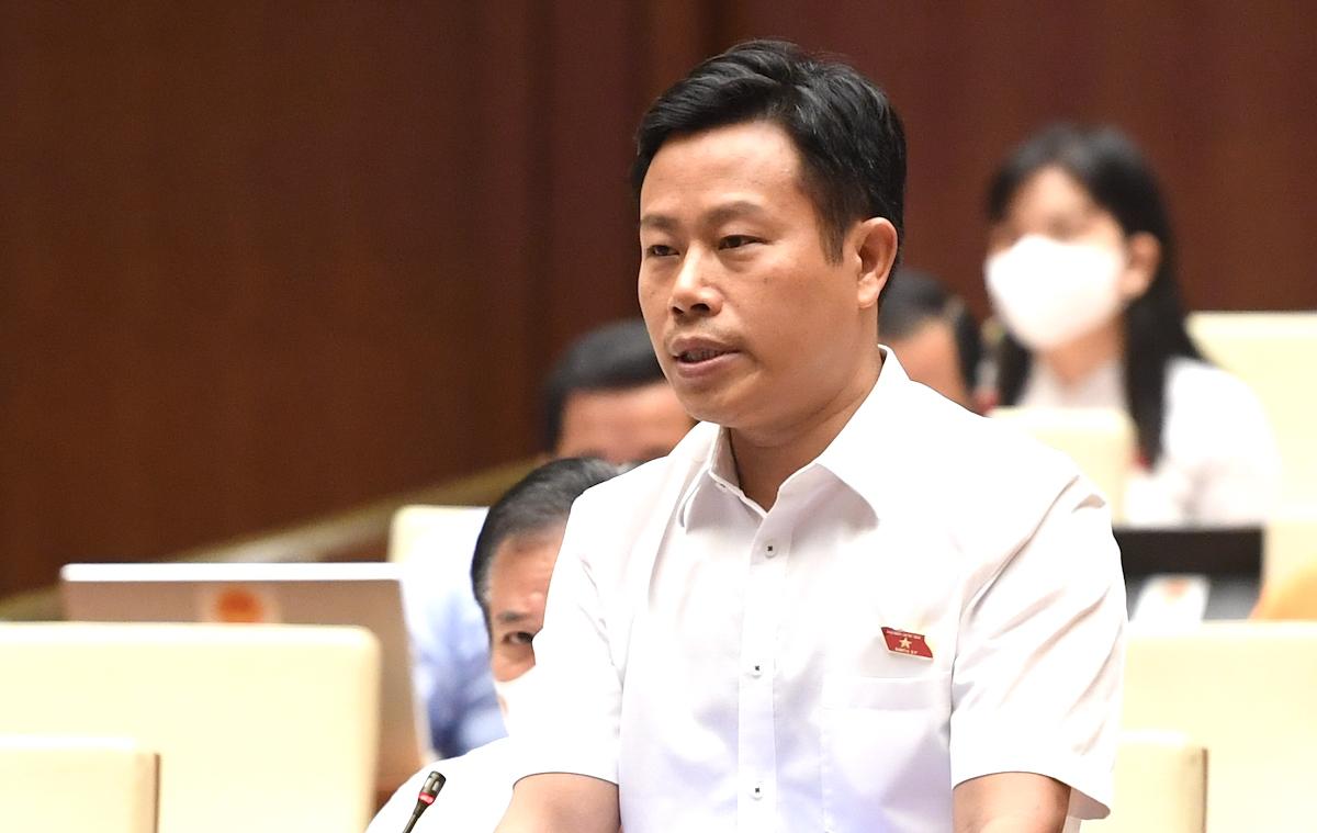 Đại biểu Lê Quân (Giám đốc Đại học Quốc gia Hà Nội) phát biểu tại Quốc hội sáng 25/7. Ảnh: Giang Huy
