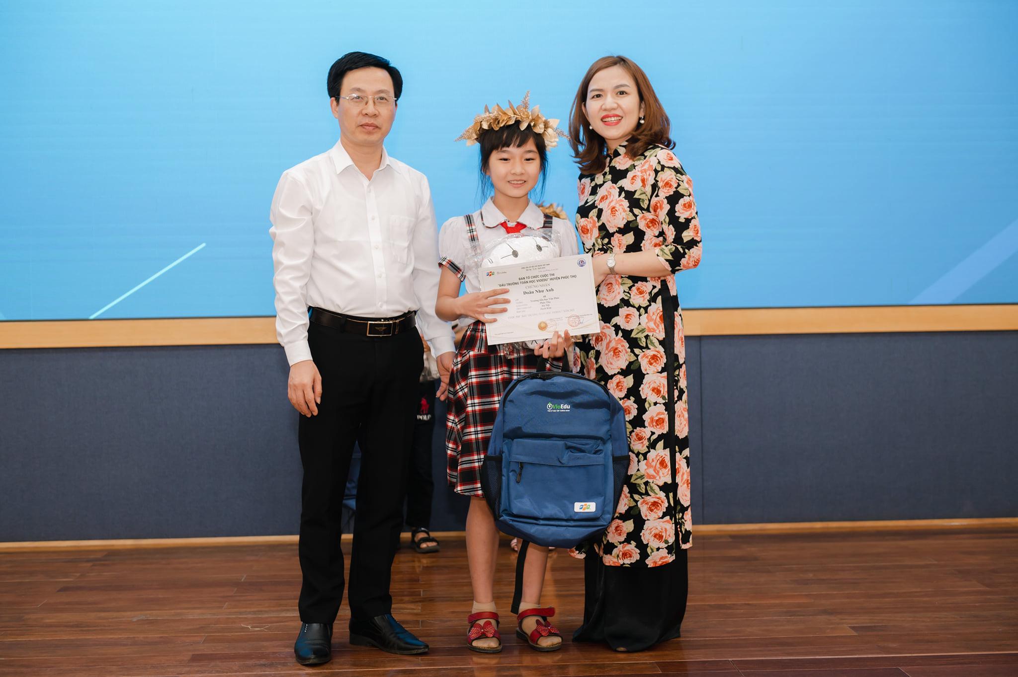 Doãn Như Anh xuất sắc giành giải Bạch Kim - đấu trường toán học VioEdu mùa 2, tổ chức bởi Phòng GD&ĐT huyện Phúc Thọ