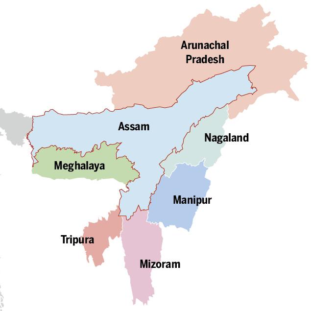 Biên giới giữa bang Assam với 6 bang khác tại khu vực đông bắc Ấn Độ. Đồ họa: Times of India.