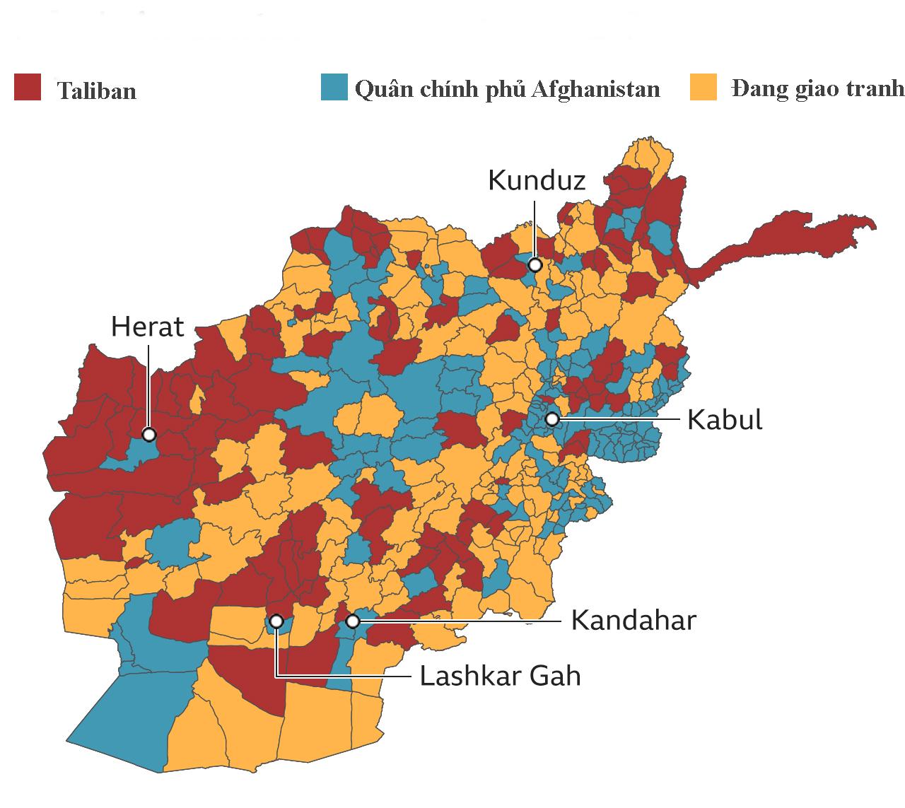 Các lực lượng kiểm soát Afghanistan. Đồ họa: BBC.