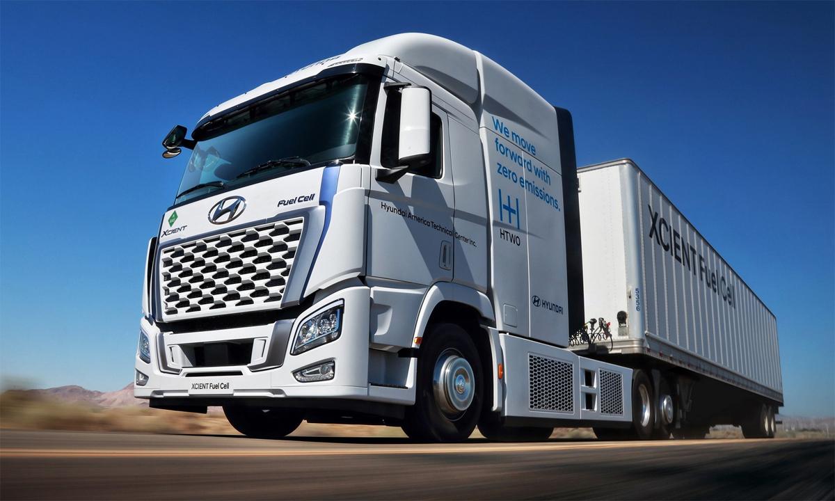 Xe tải chạy nhiên liệu hydro. Ảnh: Hyundai