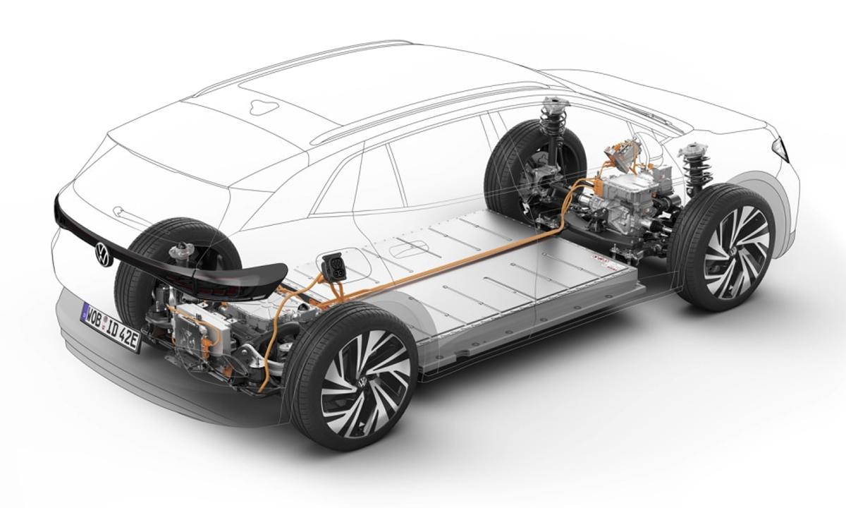 ID.3 trang bị hệ thống phanh tái tạo điện với phanh trống ở bánh sau. Ảnh: Volkswagen
