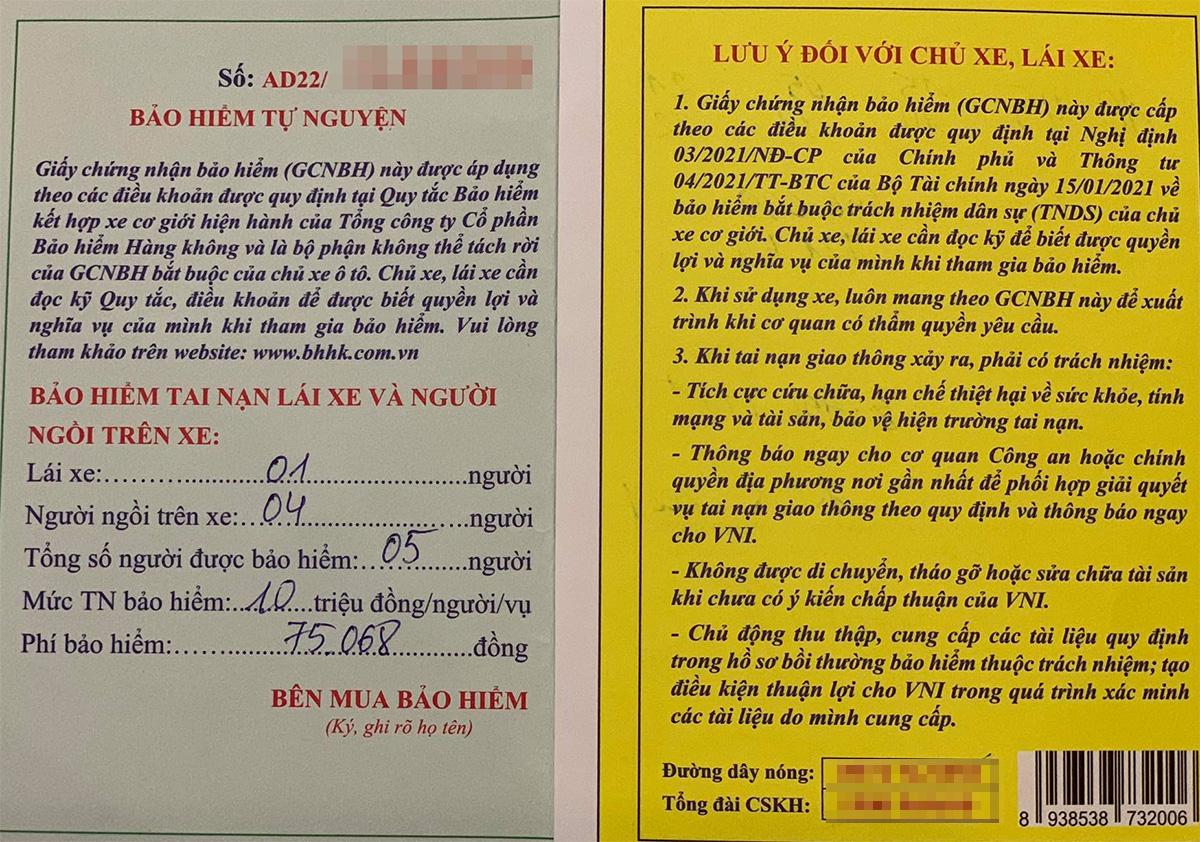 Mẫu giấy chứng nhận bảo hiểm tự nguyện của chủ xe ôtô. Ảnh: Xuân Hoa