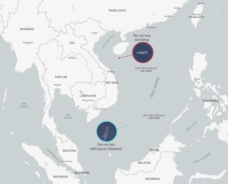 Vị trí được cho là của tàu sân bay HMS Queen Elizabeth của Anh và Sơn Đông của Trung Quốc ngày 28/8. Đồ họa: CSIS, ESA.