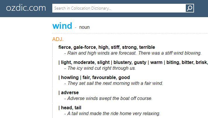 Kết quả tìm kiếm collocation trên trang ozdic.com.
