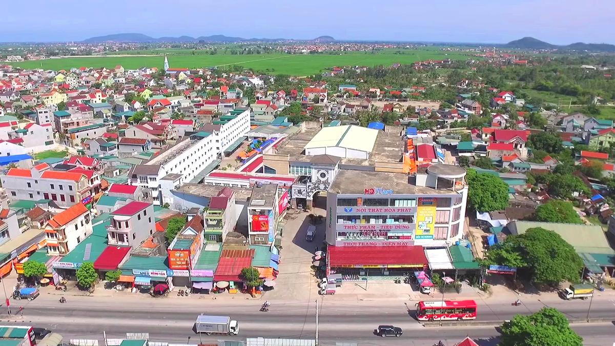 Một góc trung tâm huyện Quỳnh Lưu. Ảnh: CTV