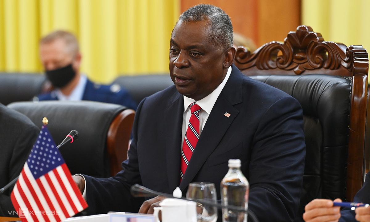Bộ trưởng Quốc phòng Mỹ Lloyd Austin phát biểu tại hội đàm ngày 29/7. Ảnh: Giang Huy