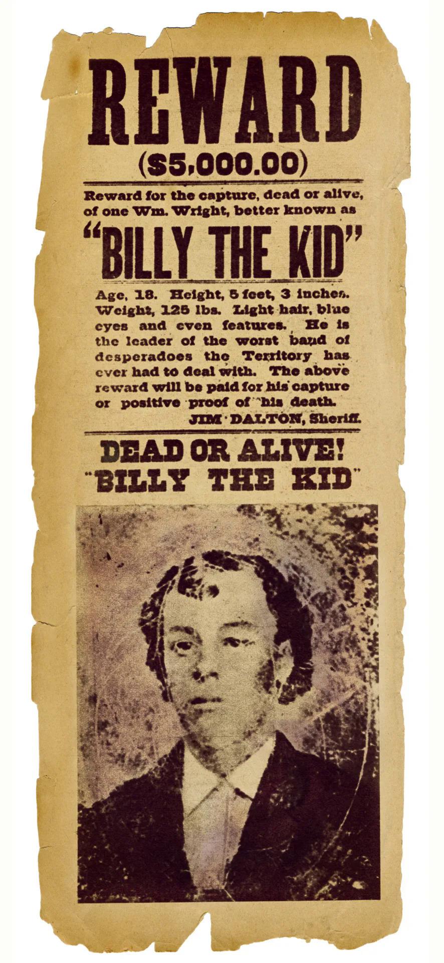 Một áp phích truy nã dành Billy the Kid, năm 1877. Ảnh: Fototeca Gilardi