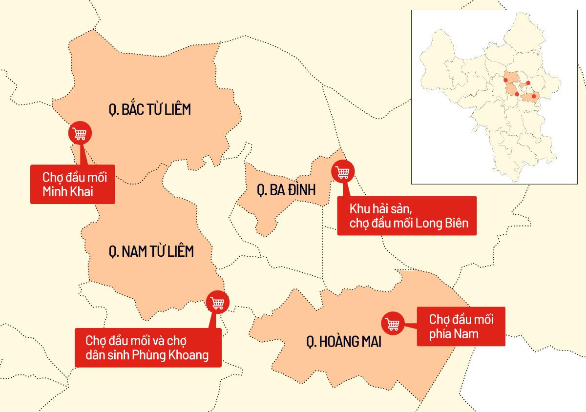 Các chợ đầu mối lớn trên địa bàn Hà Nội, trong đó ba chợ Minh Khai, Phùng Khoang và phía Nam đã đóng cửa. Đồ hoạ: Tiến Thành