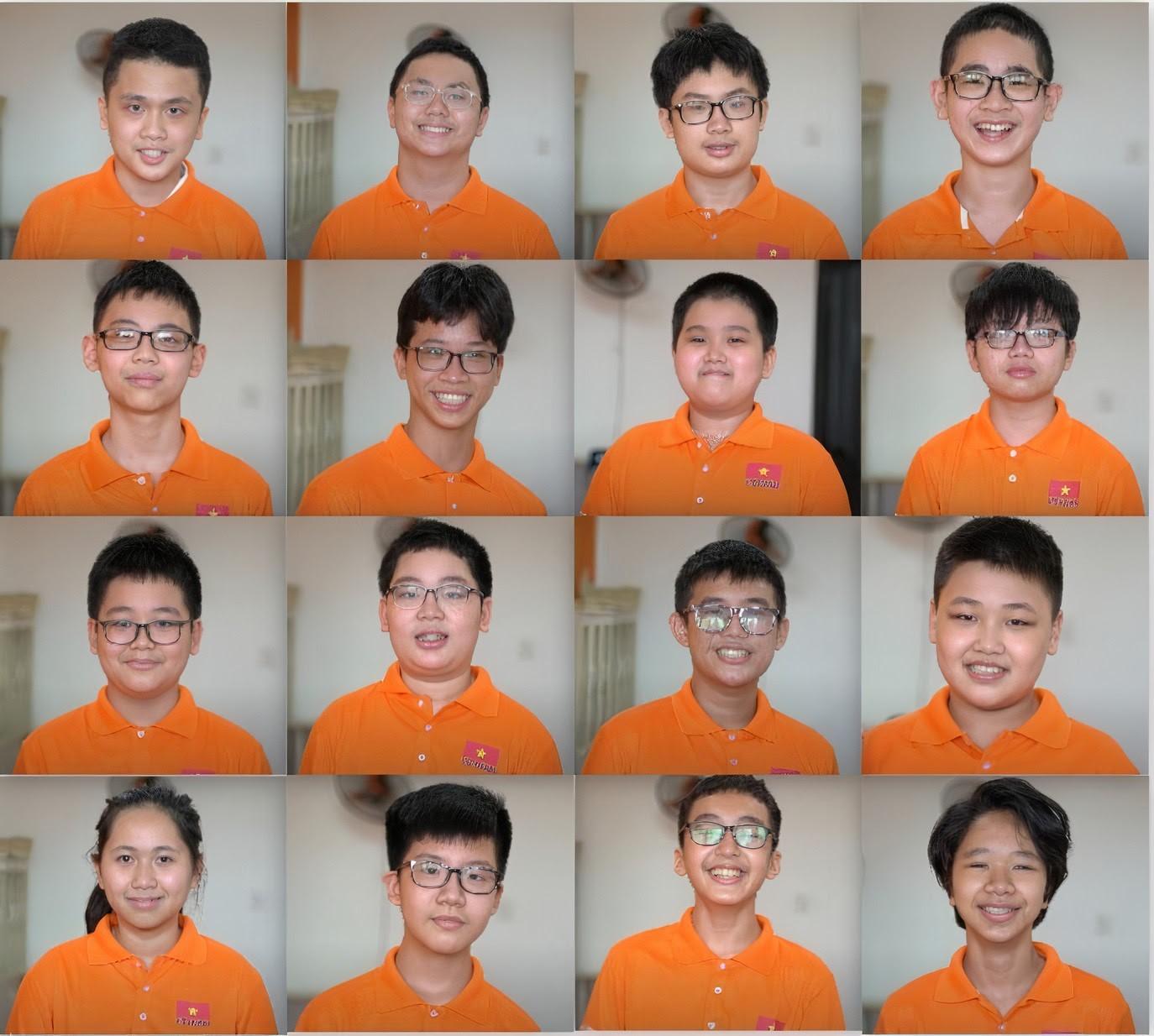 16 học sinh tham dự kỳ thi Toán học trẻ quốc tế 2021. Ảnh: Ban tổ chức