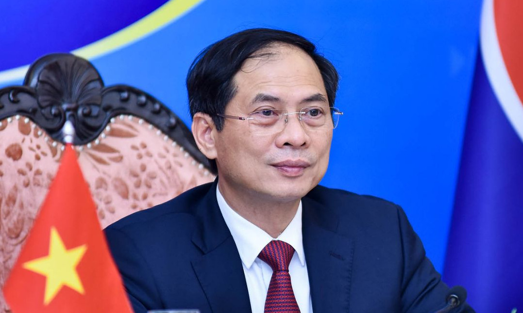 Bộ trưởng Ngoại giao Bùi Thanh Sơn trong Hội nghị ACC hôm 2/8. Ảnh: Bộ Ngoại giao.