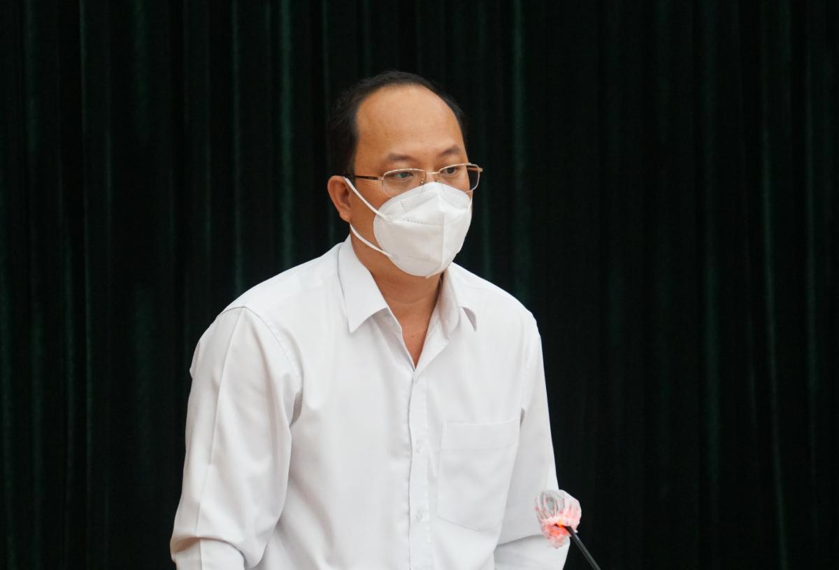 Phó bí thư Thành uỷ TP HCM Nguyễn Hồ Hải tại cuộc họp chiều 2/8. Ảnh: Mạnh Tùng.